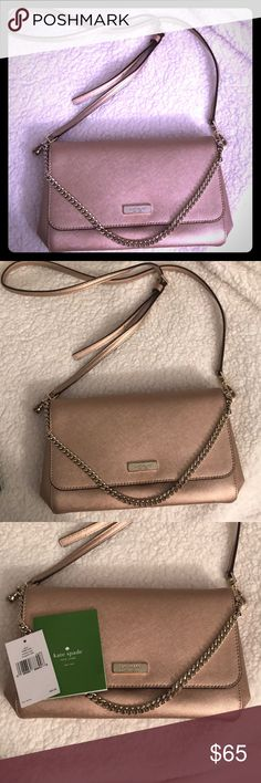 Kate Spade New York Rose Gold Newbury Lane Purse Kate Spade New York Rose Gold Newbury Lane Purse. Item number p04008, color rosegold (717). Hardware is chipping on the front nameplate & has a few small stains on the interior lining (as shown in photos). Comes with original tag & care card. Features  a removable/adjustable shoulder strap & gold chain detail (can be worn as a clutch or leave the chain over the front for a fun style). Has gold plated hardware and kate spade logo on the front…