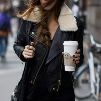 Acne Leather Biker Jacket, just ignore the Starbucks cup