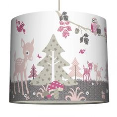Mädchen Lampenschirm 'Rehlein' rosa/taupe/beige Ø 40cm