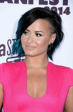 Demi Lovato's Dark Shaved Bob Hair
