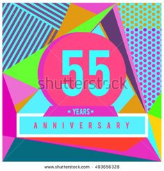 55th years greeting card anniversary with colorful number and frame. logo and icon with Memphis style cover and design template. Pop art style design poster and publication.