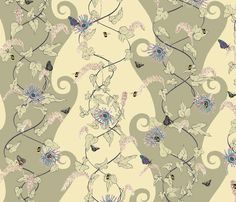 The_Spiral_Of_Life_Cream and Green. fabric by art_on_fabric on Spoonflower - custom fabric