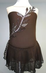 Sk8 Gr8 Designs chocolate brown figure skating dress, accented in copper and gold vines and leaves, ombre skirt. www.sk8gr8designs.com
