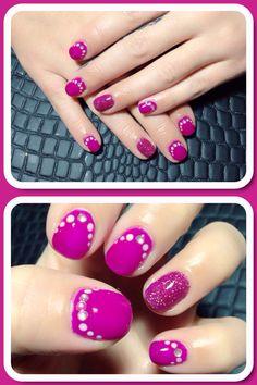 #nailart #nail #pink #glitter #dot #strass