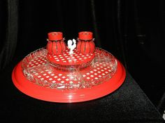 Vintage Gingham Lazy Susan with Glass Trays  Center Dish and Salt and Pepper