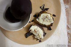 caramel cashew bliss balls / talesofakitchen.com.  Ing's:  12 Medjool dates, 12 TBSP warm cashew butter, 1 TBSP melted coconut oil, handful chopped pecans, homemade chocolate