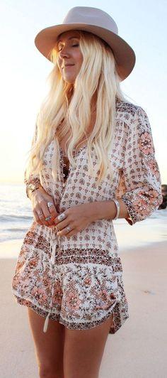 #gypsylovinlight #coachella #hippie #style #spring #summer #inspiration  Nude Multi Boho Blossom Playsuit