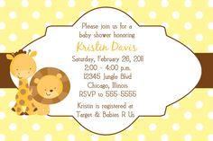 Lion & Giraffe Jungle Animals Baby Shower Invitation - Girl or Boy Colors. $10.00, via Etsy.