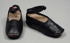 Pair of Childs Slippers Made Of Leather And Kid Leather -American  c.1865-1870