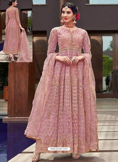 807dbcf86b Scintillating Pink Embroidered Designer Anarkali Suit