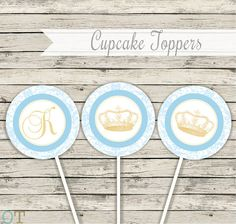 Cupcake Toppers Prince Vintage Crowns Personalized Blue and Gold Boy Royal Baby Shower Birthday Printable Theme Package Digital Download on Etsy, $6.81 CAD