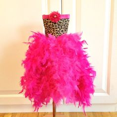 Feather Tutu Dress Feather Dress Feather Party Toddler Tutu Dress Shabby Chic - Leopard / Hot Pink Feather Birthday Vintage Dress. $115.00, via Etsy.