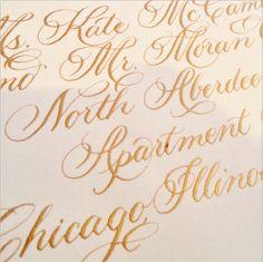 Gold #calligraphy on a Nico and Lala wedding invitation