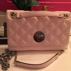"""Kate Spade Astor Court Quilted Leather Bag NWT. KATE SPADE Astor Court Collection. Ballet slipper pink (pale pink). 7.25""""h x 11""""w x 2.25""""d. Quilted 100% cow leather with 14-karat light gold plated hardware. Convertible chain-embellished strap that can be worn tucked under arm or crossbody. Turnlock snap closure. Interior features zip, cellphone and multi-function pockets. kate spade Bags Shoulder Bags"""