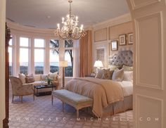 Traditional Master Bedroom with Bernhardt sophia headboard, Chandelier, Carpet, Louis XVI upholstered bench, Crown molding