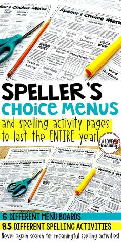 Speller's Choice Boards and Activities - Never again search for meaningful spelling activities! This download comes with: •6 different Speller's Choice Menu Boards •76 fun, printable activity sheets for students •*9 computer activities included on the boards (85 spelling activities in all!)