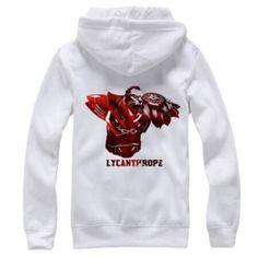 DOTA 2 herói hoodie branco para os homens Lycanthrope com forro de lã