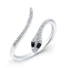 14KT White Gold Diamond Slytherin Ring with Black Diamond Eyes<br /> Diamond Snake Ring