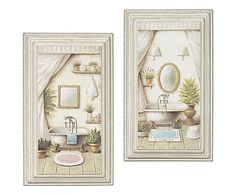 Coppia di formelle in MDF Bathroom, 21x36x3 cm