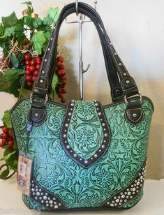 New 'Montana West' Genuine Tooled Leather Western Tote Bag Turquoise R $120 | eBay