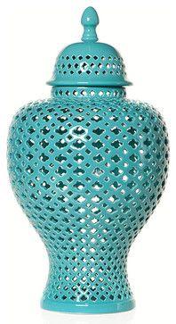 Aquamarine Filigree Urn - asian - vases - Z Gallerie