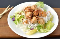 Orange sesame chicken salad.  It only takes four simple ingredients to make this delicious orange sesame sauce. Perfect for lunch!