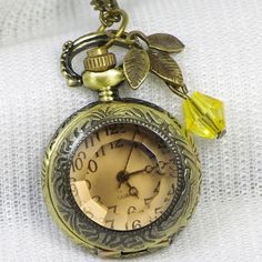 Watch Necklace-Steampunk Victoriana DARK SHADOW pocket watch Necklace with a leaf and yellow crystal bead