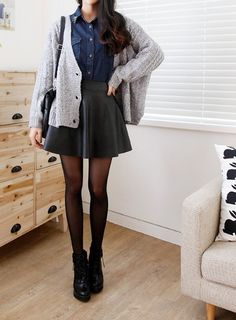 Leather skirt, navy top, light grey sweater