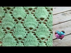 Crochet : Point feuille en relief / Crochet punto fantasia - YouTube