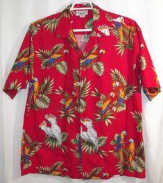 d8eac8a3 Pacific Legend Mens Casual Shirt Size XL Tropical Parrots Macaws Camp Aloha  #PacificLegend #Hawaiian
