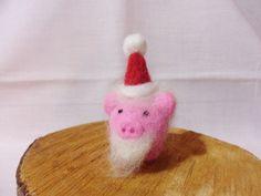Needle Felted Santa Pig  Christmas Ornament by feltindevon