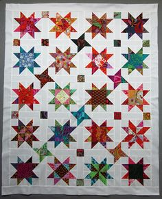 Exuberant Color : Back to one hour on an old project. Star Quilt Patterns, Star Quilts, Quilt Blocks, Quilt Making, Scrap, Diy Crafts, Blanket, Sewing, Fabric