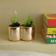 Lundby Dollhouse  Flower Gold Miniature 1/18 Plant Pot Planter Dolls House Tiny Decor Small Scale - Upcycled