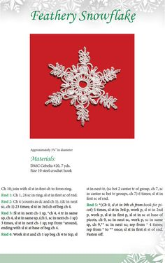 """""""Feathery Snowflake pattern is from a Dover publication whole book of #Crochet decorations for Christmas. I like the delicacy of this snowflake."""" Enjoy from #KnittingGuru ** http://www.pinterest.com/KnittingGuru"""