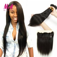Lace Frontal Closure With Bundles Straight Brazilian Virgin Hair With Closure 7A Brazilian Straight Hair With Frontal Closure
