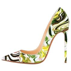 MERUMOTE Women's Lyabas Yellow Mixed Color Pointed Toe High Heel Shoes Dress Pumps 9 US *** Visit the image link more details.