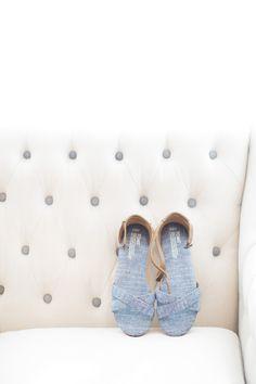 Casual Blue Cross-Strap TOMS Bridal Sandals