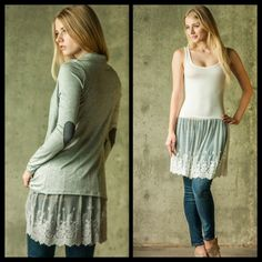 ❗️COMING SOON❗️ Tank Cami Lace Tunic Extender Slip Lace extender available in S M L in gray or white. Perfect under tunics for a little extra detail or to cover the bum! Brand new! Tops Tunics
