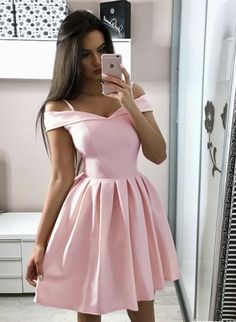Baby Pink Homecoming Dress Off The Shoulder, Hoco Dresses, Short Prom Dress, Back to School Party Dance Dress - Homecoming Dresses Simple Homecoming Dresses, Pink Formal Dresses, Hoco Dresses, Prom Party Dresses, Party Gowns, Cheap Dresses, Evening Dresses, Dress Party, Simple Dresses