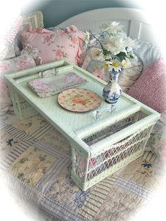 TREASURY ITEM Shabby Vintage Celadon Green WICKER Bed Service Serving Tray Glass Knobs Chic.