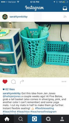 A cool way to store seating in the classroom.