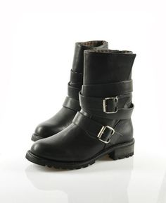 Black PU Motorcycle Boots with Belt Buckles