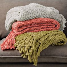 Colorful coral throw from West Elm