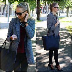 Rosewe Black And White Coat, H&M Burgundy Red Top, Ebay Black Geneva Watch, Lovely Wholesale Black Heels