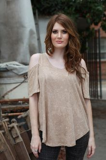 MERCY COLD SHOULDER TOP $49.50 This Sexy Top looks AMAZING on everyone! Great top for the your Holiday festivities! Cotton Modal Color: Taupe Distress Wash Proudly Made in Los Angeles, CA (USA)