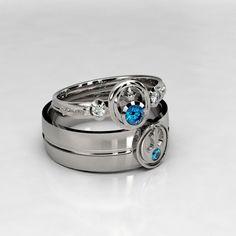 Star Wars Rebel Palladium & Sapphire Wedding Ring by MetalWendler Diamond Bands, Halo Diamond, Star Wars Ring, Wedding Rings Sets His And Hers, Sapphire Wedding Rings, Geek Wedding Rings, Silver Claddagh Ring, Star Wars Wedding, Anillo De Compromiso