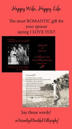 """Want a happy marriage? Make sure you say """"I love you""""....  with personalized gifts of love:  First Anniversary,  birthday  or just because....  #Romantic gifts, #Anniversary Gifts"""