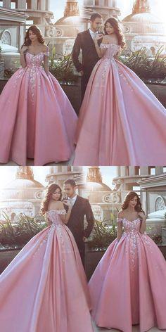 Ball Gown Pink Off Shoulders Wedding Dress,Ball Gown Prom - Abendkleid - Ballkleid - Festkleid - Hochzeitskleid - Ball Gowns Prom, Ball Gown Dresses, Wedding Gowns, Evening Dresses, Formal Dresses, Pink Ball Gowns, Long Dresses, Winter Dresses, Lace Wedding