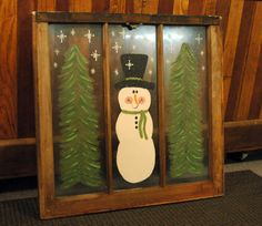 Country Lane Crafts and Antiques: snowman window Primitive Crafts, Primitive Christmas, Country Christmas, All Things Christmas, Wood Crafts, Primitive Stitchery, Primitive Patterns, Primitive Snowmen, Diy Crafts