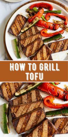 Tofu Recipes, Vegan Dinner Recipes, Vegan Dinners, Healthy Recipes, Healthy Meals, Vegetarian Recipes, Grilled Tofu, Grilled Vegetables, Healthy Grilling